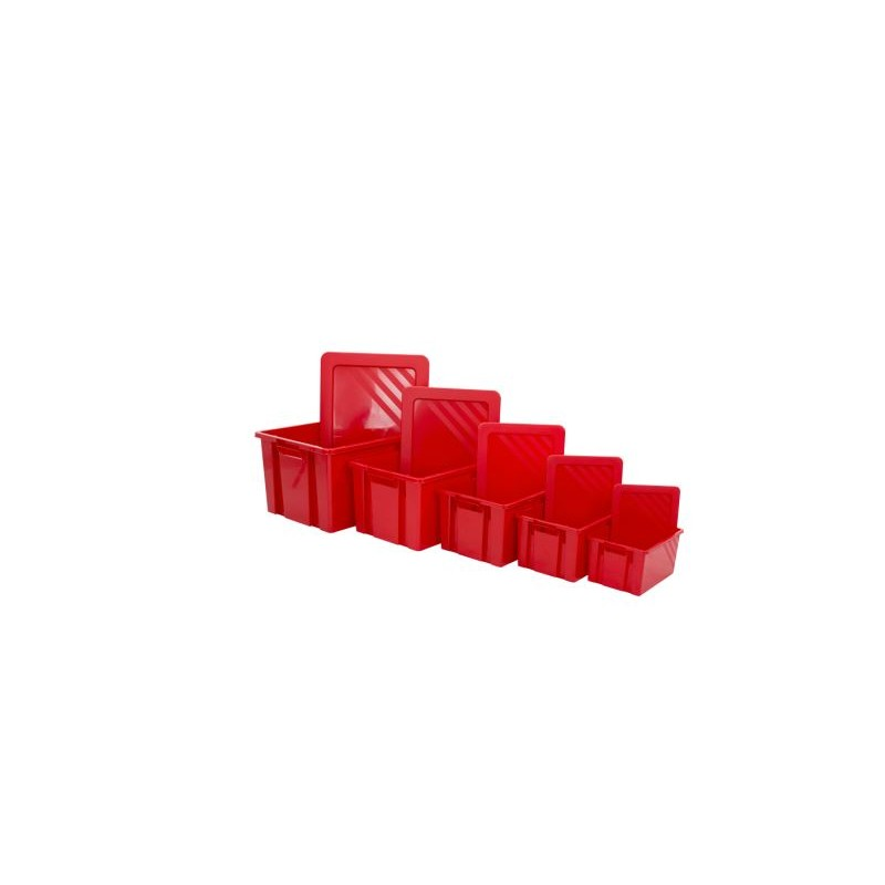 6 to 54 liters container with red lids